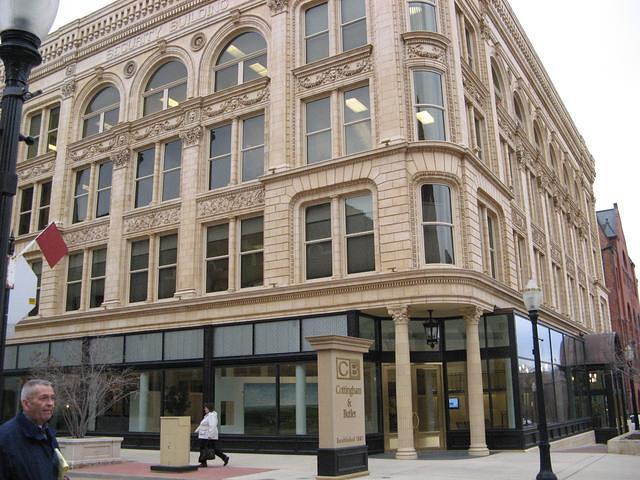 Downtown Dubuque building goes right around the corner.