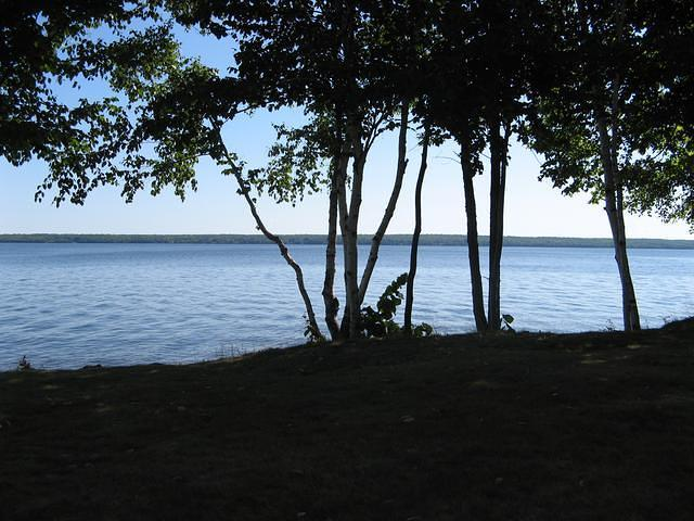 Peaceful view of Lake Gogebic near the campsite.