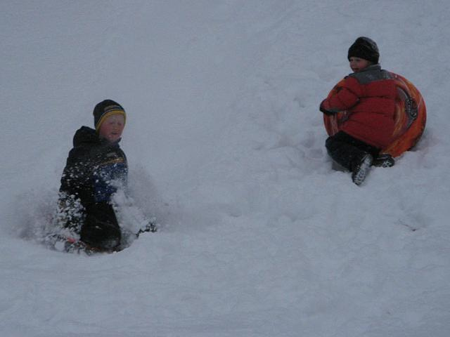Michael comes down the hill. Cole goes up.