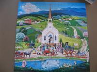 Country Wedding. 550 pieces.  This was a pleasant puzzle.  Went together easily